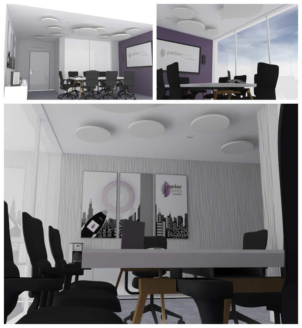 Rendered images showing how acoustic treatment might look in a conference room